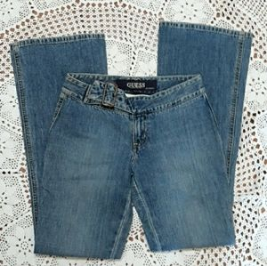 Vintage Guess belted low rise flare leg jeans
